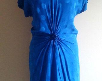 Bright Blue Pure Silk Italian Party Dress