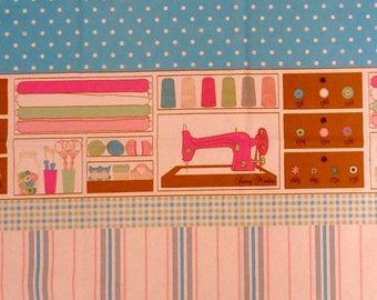 Sewing Theme Fabric, Kokka Trefle Oxford Cloth Sewing Themed Cotton Fabric in Natural - 1 meter cut, pink, blue, brown, Japanese fabric