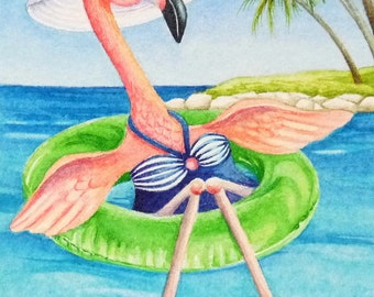 Beach Babe Flamingoes No. 3 Miniature Art - Limited Edition ACEO Giclee Print reproduced from the Original Watercolor