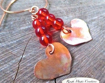 Copper Heart Earrings, Rustic Romantic Gifts for Her, Long Boho Dangles, Bright Red Beads, Antique Copper, Eco-Friendly Metal Earrings