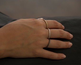 Rose Gold Beads Wedding Ring, 14k Rose Gold Bullets Rings, Ball Wedding Ring, Classic Red Gold Wedding Ring