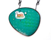 You're A Turkey! OOAK Enamel, Upcycled Tin, Faux Diamond, Silver Necklace Free Shipping to USA