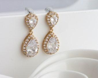 Gold Bridal Earrings Wedding Jewelry Cubic Zirconia Teardrop Earrings CZ Wedding Earrings POPPY