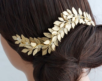 Grecian Headpiece Wedding Hair comb Gold Leaf Hair Vine Matt Gold Vintage Hair Accessory   ABELLA COMB