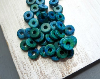 Ceramic beads, small spacer discs rondelle,  matte opaque Green Blue turquoise,  marbled beads  -  8 x 2 mm / 40 pcs -3amk66