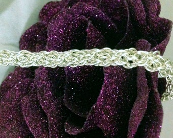 Made to Order-Small Spiraling Vine Chainmaille Bracelet-Sterling Silver