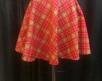 PLAID Mini Circle Skirt Elastic Waist
