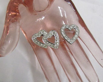 Vintage Trio of Hearts Timeless Rhinestone Pins 2 Valentine Brooches 1940 and Later