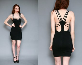 CAGE Mini Dress // Black STRAPPY Bodycon Stretch Deadstock Grunge - Size XS S