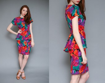 Vintage Tropical Peplum Mini Dress // Tiki Multicolor Floral Print Pencil Dress - Size S M
