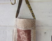 Shoulder bag small size with sashiko embroidery and block print recycled with vintage fabrics and machine embroidered patchwork strap