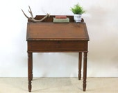 1920s Desk, Flip Top Lid, Country Farm Rustic Decor, Vintage Bohemian Home