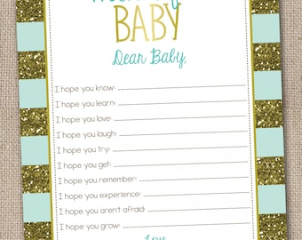 Printable Baby Wishes Instant Download Gold Glitter and Aqua Blue Stripes Baby Wishes Card Printable PDF Digital File