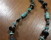 Asymmetrical Rustic Necklace -- Natural Chrysocolla Amazonite Blue Green Stones, Murano Glass Lampwork
