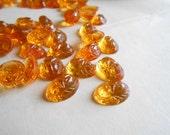 4 pcs amber topaz glass scarab cab - antique vintage cabachon