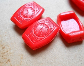 3 red watch focal focus beads vintage czech glass two hole beads - old new stock jewelry supplies