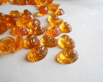 6 pcs amber topaz glass scarab cab - antique vintage cabachon