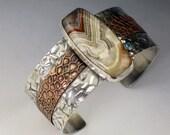 Crazy Lace Agate Cuff Bracelet, mixed metal cuff bracelet, sterling silver and copper, wide cuff bracelet, wide cuff with stone, silver cuff