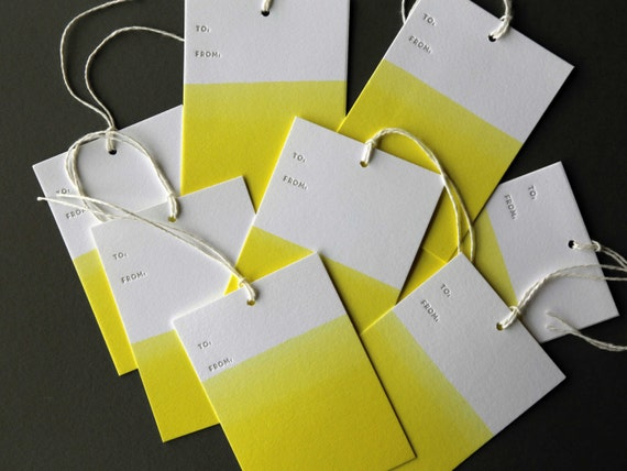 "Set of 8 YELLOW hand dip dyed and letterpress printed gift tags, 2.5 x 3.5"" with twine"