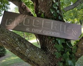 Groceries & Dry Goods Distressed Sign, Hand Made, Hand Painted Wooden Sign Sayings,Cabin Decor