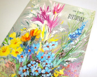 Vintage Happy Birthday Greeting Card, On Your Birthday, Colorful Bouquet Mixed Flowers, Fantusy, Unused Old Card, Retro