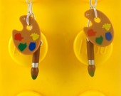 Artist Palette & Brush Earrings  Sterling Silver Stamped Backs - Fan Art Crafted From LEGO® Elements