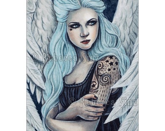 Sky Limited Edition ACEO Print Fantasy Angel Bubblegoth Gothic Artist Trading Cards ATC Art portrait