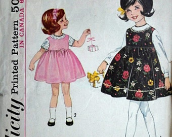 Child's Jumper and Blouse, Simplicity 5240 Vintage 60's Sewing Pattern, Size 2, Toddler