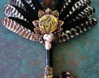 Smudge Fan Turkey Feathers Spirit Quartz Labradorite Brandenburg Amethyst Crystal Ritual Pagan Altar Art AUGHRA'S ORACLE by Spinning Castle