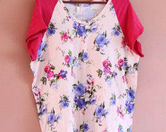 Ladies' Raglan Tee - Ready to Ship Size XXL - Blue and Ivory Floral with Pink