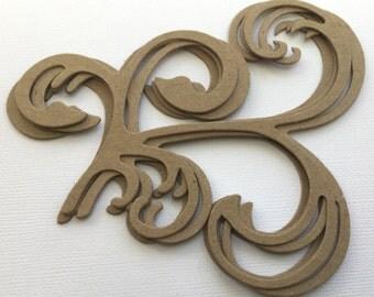 Classic Flourish Swirl  - Chipboard Die Cuts - Bare Decorative Accent Embellishments