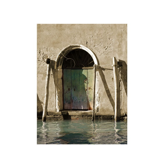 Venice Photography The Green Door Italy Rustic Wall Art Travel Archival Print
