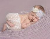 SALE Baby Headband, Lace Headband, Baby Headwrap, Hair Accessory, Girl Headband, Baby Photo Prop, White Baby Headband, Newborn Photo Prop