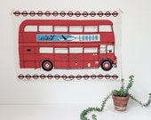 vintage london double decker bus tea towel | irish linen