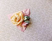 Ivory Pastel Pink Aqua cream Roses Lilies Handmade Millinery Corsage baby kids hair bow headband ooak clip supply Vintage Style Flowers