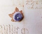 Lavender Malt Millinery Flower Brooch ~Velveteen Chenille Rosette pin, glass beaded stamens, velvet wedding accessory Victorian trim