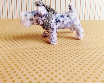 Blue The Terrier -Vintage Style Handmade dog Chenille Dollhouse Figurine, Artisan Miniature Pipe Cleaner Animal Doll, Wire Ornament 42915