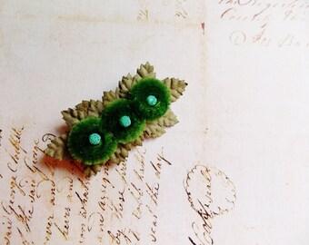 Emerald Green Olive Aqua Millinery Flower Brooch~Velveteen Chenille Rosette pin glass beaded stamens velvet wedding accessory Victorian trim