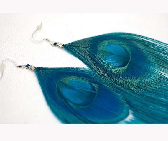 Feather Teal Peacock Earrings Bridal Jewelry Prom Idea Or Music Festival Boho Chic Gear