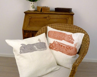 Mothers day gift, set of 2 cushion covers, cat, funny cats, cat lovers, home interior, gray, white, orange, decorative pillow covers