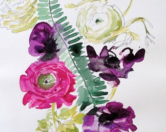Flowers with Ferns #2- original watercolor flowers painting by Gretchen Kelly