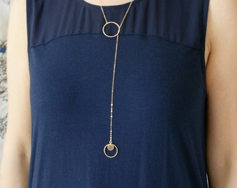 Gold circle lariat, Y necklace, Infinity circle lariat, layered long necklace, Bridal necklace, hammered circle dainty simple necklace