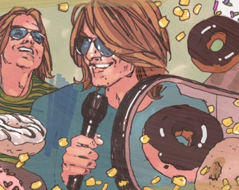 "Mitch Hedberg - Illustration Fine Art Print by Jonny Ruzzo - 13"" x 19"""