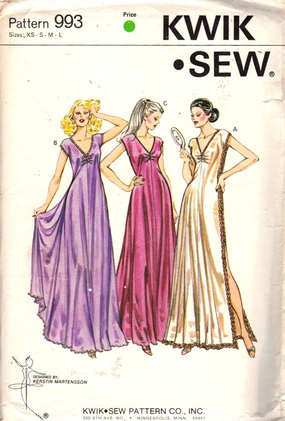 Kwik Sew 993 1980s Misses Evening Length V Neck Nightgown Pattern Lettuce Edging Womens Sewing Pattern Size xs s m l Bust 31 - 41 UNCUT