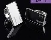 SALE - Computer Key Jewelry - rePURPOSED MacBook Enter Return Key Sterling Silver Ring