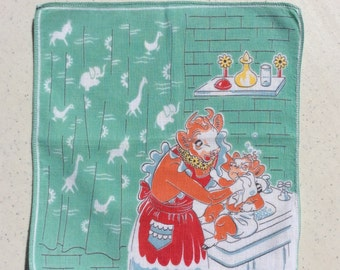 Vintage Hankie Elsie the Cow Bathes Her Baby Beulah Borden