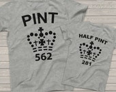 Super funny pint half pint matching dad and kiddo t-shirt or bodysuit gift set - great holiday or Father's Day gift MDF1-023