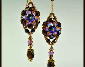 Beaded, Beadwork, Beadwoven Crystal Flower Earrings