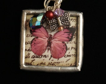 For OMA - Reversible, Hand Soldered Charm Necklace with Butterfly and Baubles - Mother's Day- ME Designs