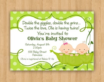 10 - PRINTED Two Peas in a Pod Baby Shower Invitations with Envelopes Cute Simply Adorable TWINS